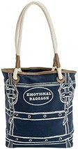 JKC Studios Blue Cotton Canvas Emotional Baggage Tote Bag With Rope Han... - $73.90