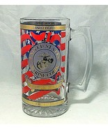 "Beer mug Marine corps 1991 Spectrum 7"" clear glass with gold blue and re... - $9.85"