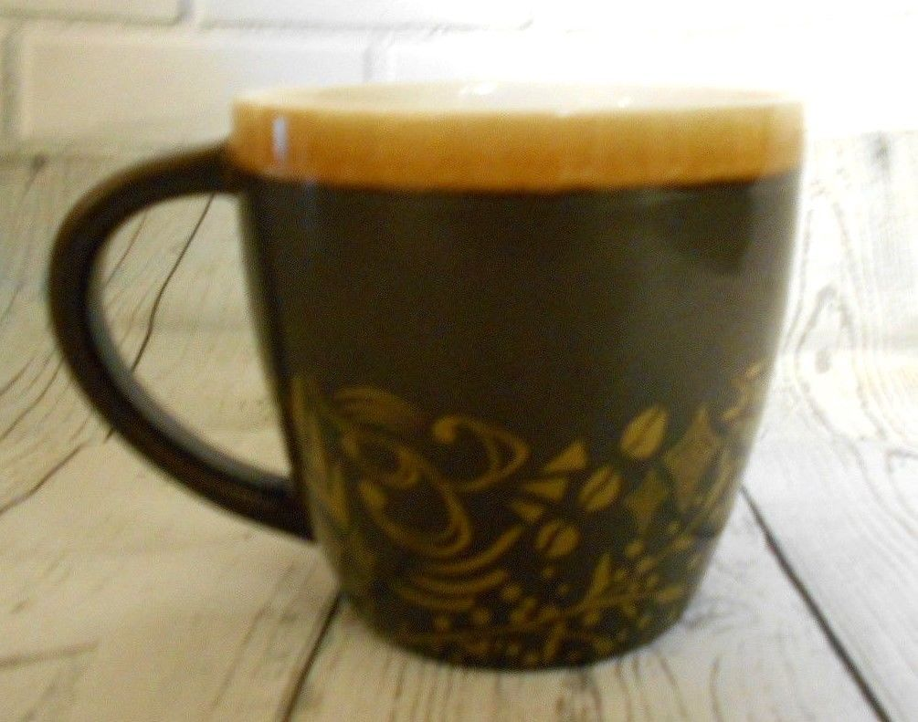 Primary image for Starbucks 2011 Brown Gold Accent Bone China Coffee Mug  12 oz Stocking Stuffers