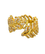 Handmade Diamond Pave Solid 18K Yellow Gold Feather Ring Vintage Gift Je... - $1,198.59