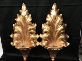 LOT OF 2 VINTAGE ANTHONY FREEMAN MCFARLIN POTTERY GOLD WALL SCONCE POCKE... - $240.56