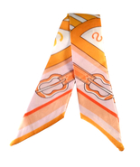 St. Germain Twilly Scarf Classic Orange Horse Buckle Purse Twill Weave L... - $25.00