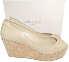 Jimmy Choo 'parley' Nude Patent Leather Open Toe Cork Wedge Pump Sandal ... - $189.00