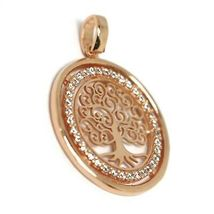 Pendant Rose Gold 750 18K, Tree of Life, Frame Zircon, Perforated image 3