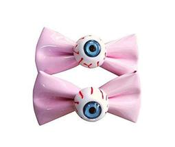 [1 Pair] Zipper Style PINK Bowknot Hair Clips Eye Ball Bowknot Hair Barrettes