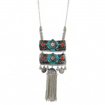 Elegant Long Necklace Green Silver Afghani Vintage Statement Fashion Jewelry - $14.84