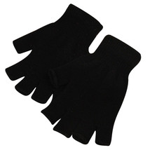 Dark Black 2 Pair Unisex Soft Half Finger Gloves Warm Knitted Mittens Fi... - $265,75 MXN