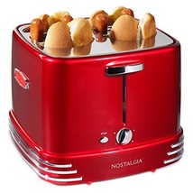 Nostalgia RHDT800RETRORED Pop-Up 4 Hot Dog and Bun Toaster With Mini Ton... - £30.46 GBP