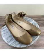 Steve Madden Bloome Metallic Gold Leather Lace Up Flats Womens Size 8 - $29.95