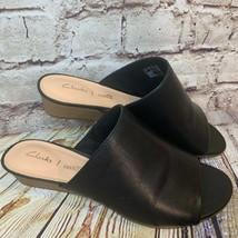 Clarks Womens Black Leather Open Toe Slide Comfort Wedges Size 8 - $37.08