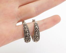 BARBARA BIXBY 925 Sterling Silver - Vintage Swirl Pattern Hoop Earrings ... - $89.29