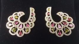 Joan Boyce 3.20ctw Love Being a Fashionista CZ & Crystal Fan Earrings NEW - $67.72