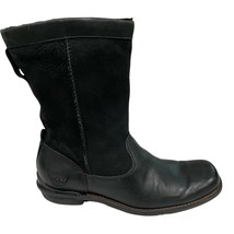 UGG Women's Size 6.5 Brookfield Sheepskin Leather Black Leather Boots  5592 - $34.64