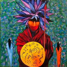 "Native American Artist Kathy Kills Thunder ""He Lush Ka"" (Winnebago Fighter) - $240.00"