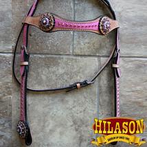 Western Horse Headstall Tack Bridle American Leather Pnik Fringes Hilason U-0-HS - $67.95