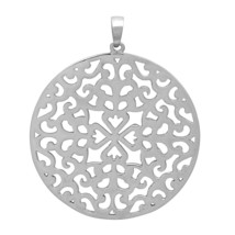 Hallow 925 Sterling Silver Round Lattice Disc Pendant Women - $26.27