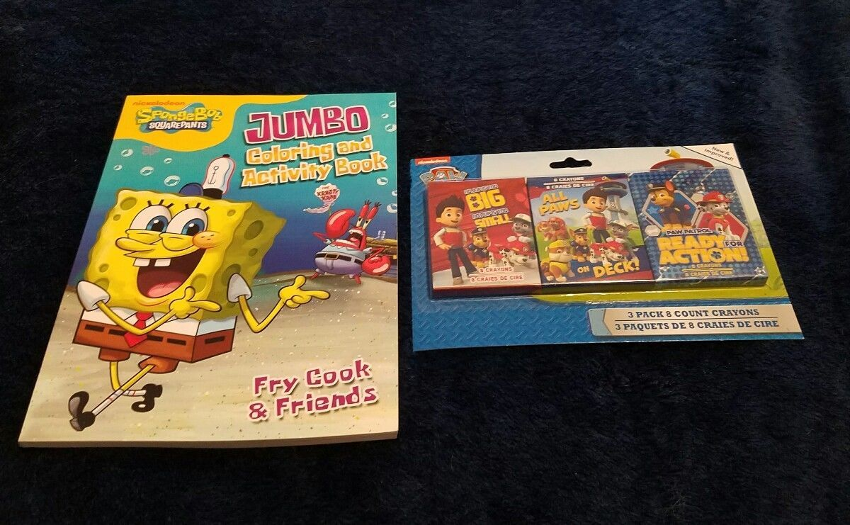 Nickelodeon Spongebob Coloring Book Activity With Paw Patrol Crayons