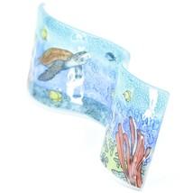 Fused Art Glass Sea Turtles & Fish Underwater Wavy Sun Catcher Handmade Ecuador image 2