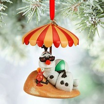 Disney Store Olaf on Sandy Beach with Cold Drink Sketchbook Ornament New  - $22.00