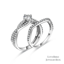 0.56 ct Round Cut Split 925 Sterling Silver Cubic Zirconia Engagement Ring Set - $52.56