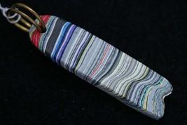 Fordite pendant, red purple white gray yellow pink, bronze twirl bail 14... - $35.00