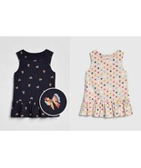 Gap Kids Girl Ruffle Sleeveless Ivory Polka Dot Bow Navy Blue Peplum  To... - $15.95