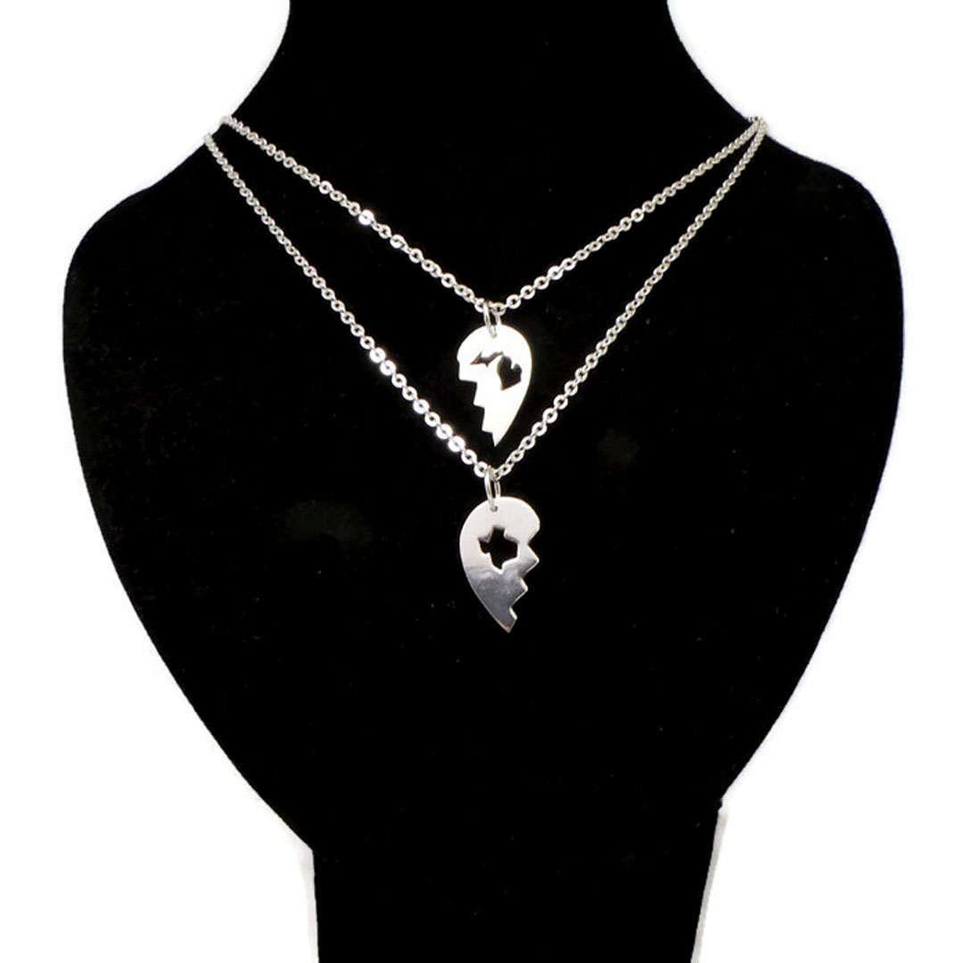 Handmade 925 Silver Long Distance Texas Michigan Broken Heart Couple Necklace  image 5