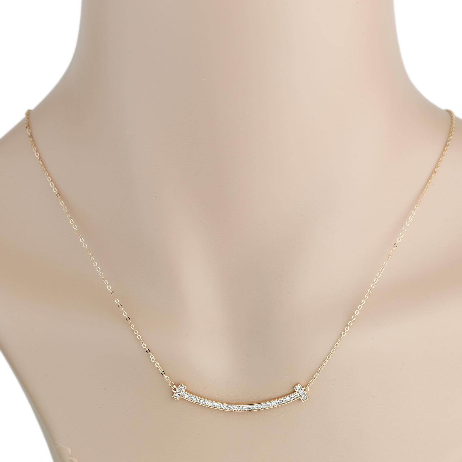 UE- Sleek Rose Tone Designer Bar Necklace With Pave Set Swarovski Style Crystals