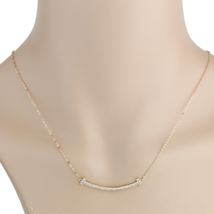 UE- Sleek Rose Tone Designer Bar Necklace With Pave Set Swarovski Style Crystals - $14.99