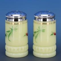 Antique c.1900 EAPG Heisey Custard Glass Souvenir of Butte Montana Shakers image 2