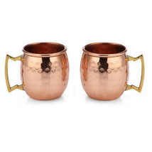 NEW! SET OF 2 100% COPPER HAMMERED MOSCOW MULE MUG 2-OZ SHOT GLASS MADE ... - $13.32