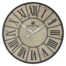 Bee & Willow Home 26-Inch Round Wall Clock in Rustic Grey/Black - $54.56