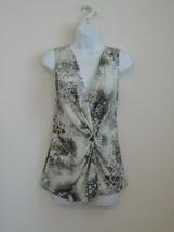 NWT ST. JOHN Silk Celedon Multi Silk Crepe Sleeveless Print Blouse Top 10 - $111.54