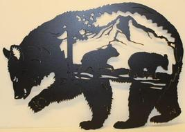 Bear with Bear Scene Metal Wall Art Flat Black Finish - $66.50