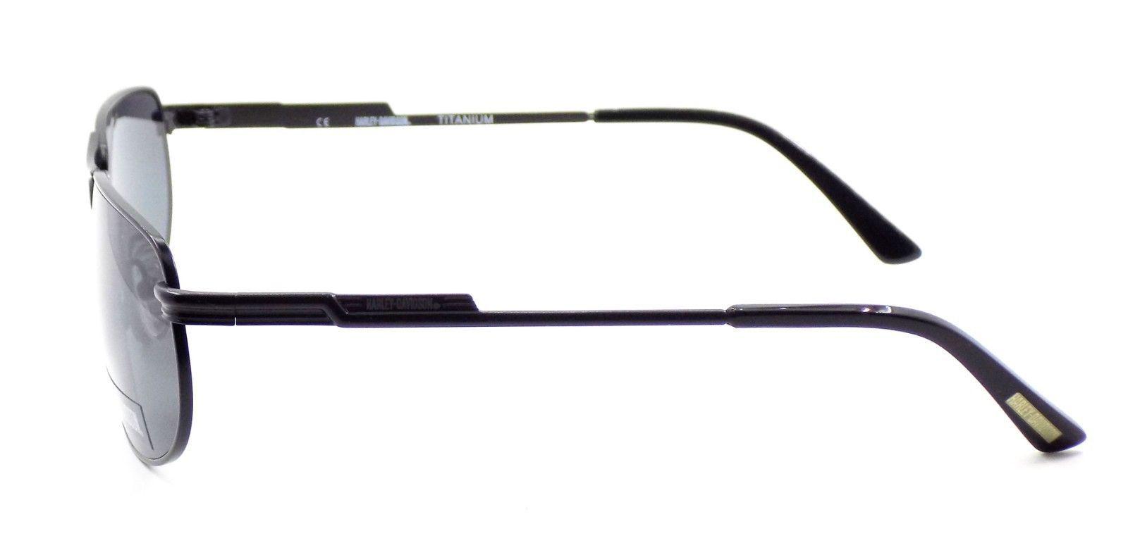 Harley Davidson HDX875 BLK Aviator Sunglasses TITANIUM Black 58-15-140 Smoke