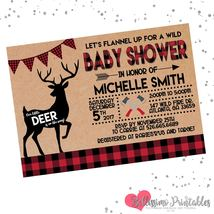 Lumberjack Deer Baby Shower Flannel Invitation Personalized Red Black Ru... - £0.74 GBP