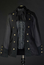 Black Cotton Goth Victorian Officer Jacket Steampunk Short Pirate Prince... - $119.99
