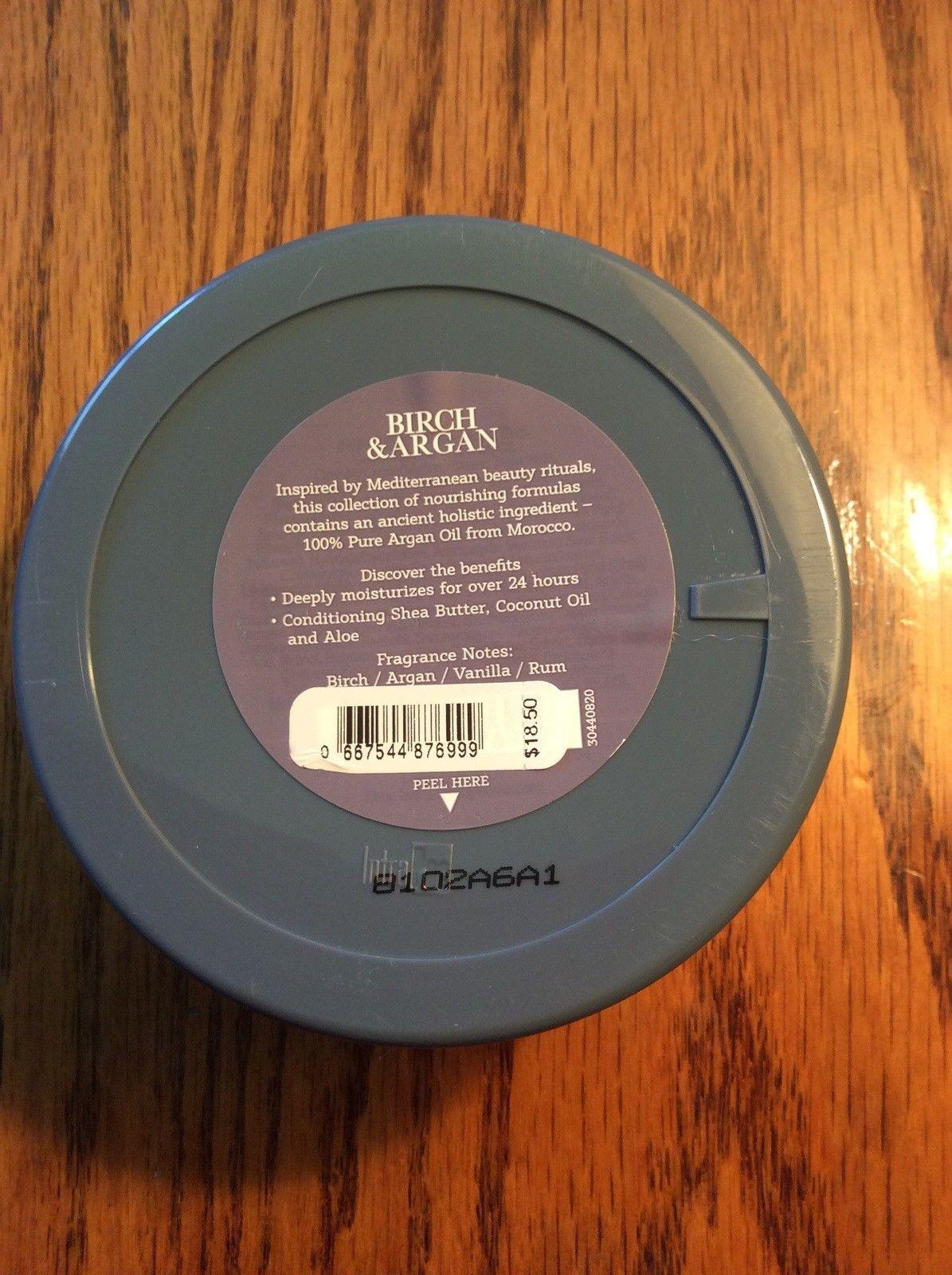 Birch and Argan Body butter 8 ounce Bath & Body Works Pure Argan Oil Aloe New