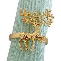 Elehere Holiday Napkin Rings Chirstmas Gold Deer Napkin Holders Set of 12 Table