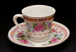 Vintage Asian Demitasse Espresso Cup & Saucer Floral Japanese Chinese Hand Paint - $11.87