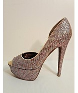 Betsey Johnson Womens Size 9.5 Multi-color Glitter Platform Peep Toe Sti... - $44.54