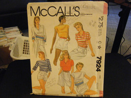 McCall's 7924 Set of Stretch Knit Tops Pattern - Size P (6-8) Bust 30 1/2-31 1/2 - $7.34