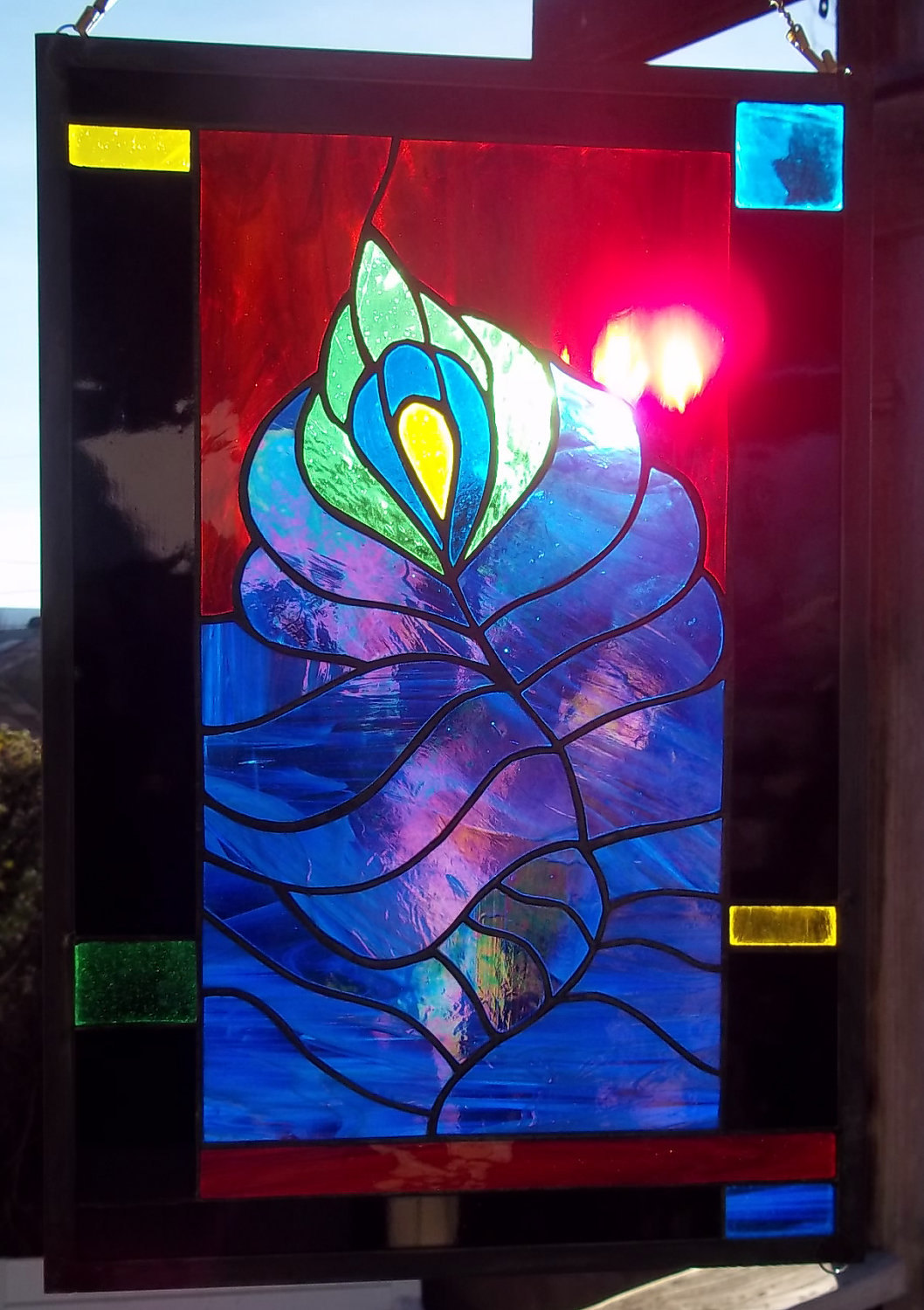 Stained Glass Window Peacock Feather Jewel Colors Red Green Yellow Black Blue