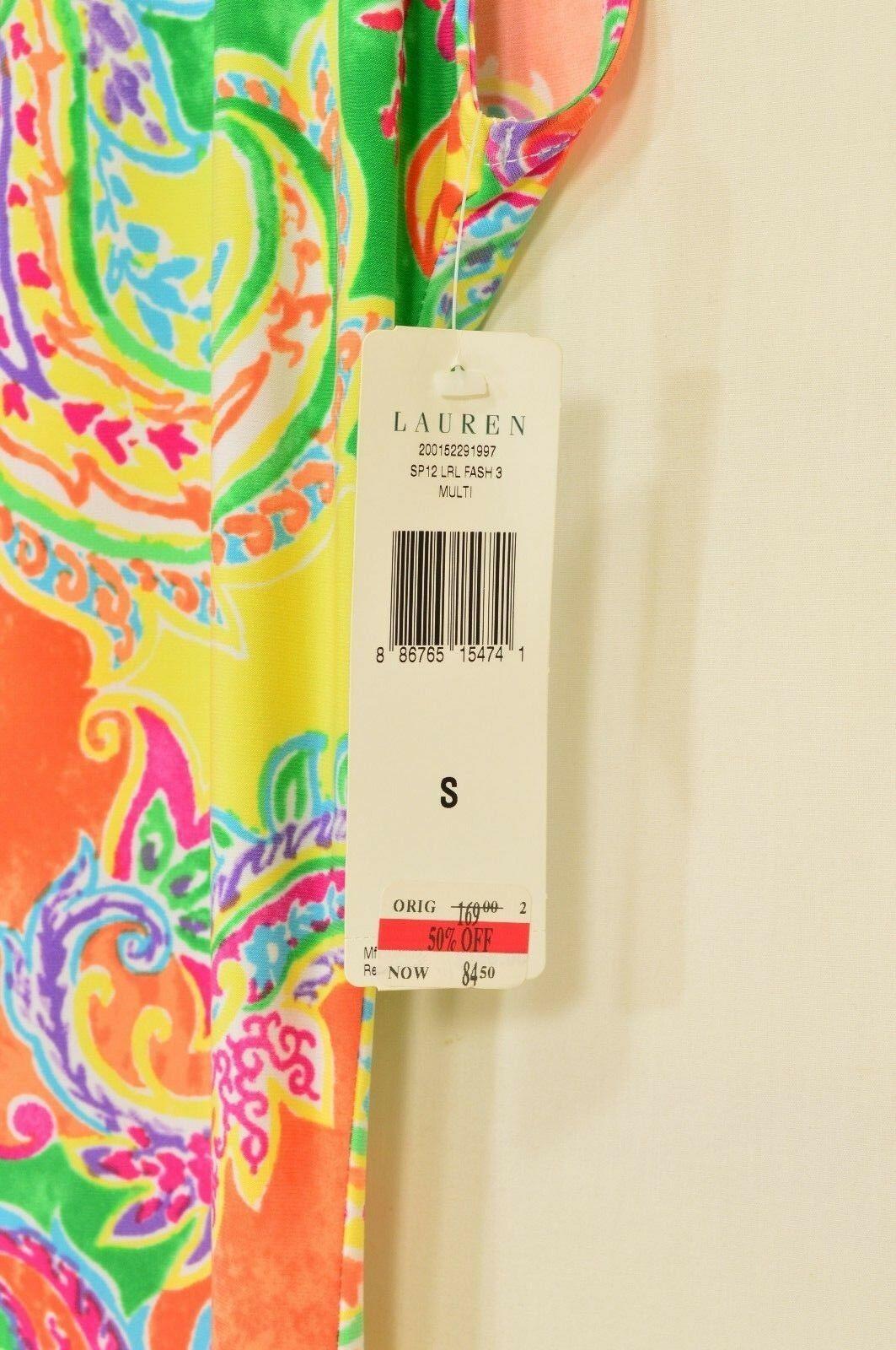 Ralph Lauren dress SZ S NWT colorful paisley raglan sleeve jersey