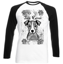 JACK RUSSELL TERRIER - NEW BLACK SLEEVED BASEBALL COTTON TSHIRT - $26.46