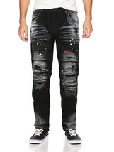Contender Men's Cotton Moto Quilted Zip Distressed Ripped Destroyed Denim Jeans image 10