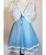 Tosca Layered Blue Chiffon Delicate Night Gown Lace Empire Waist Medium ... - $46.53