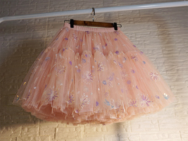 Blush Tiered Tulle Skirt A-line Puffy Skirt Plus Size Knee Length image 3