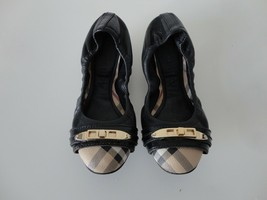 AUTH BURBERRY Black Leather Cap-Toe Scrunch Ballerina Flats Shoes 35.5/5.5 Italy - $230.37