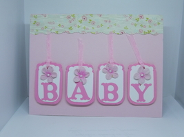 Baby Block Card/ The first steps a baby takes are into your heart - $7.50